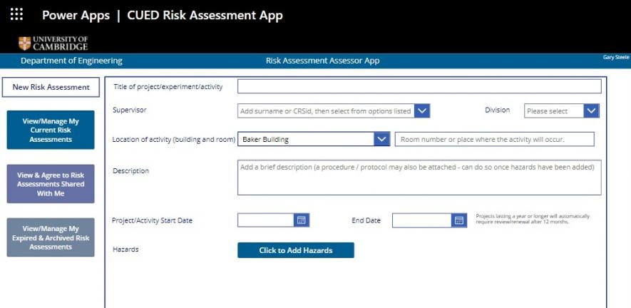Front page of Risk Assessment App